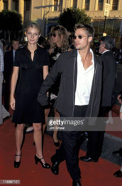 Gwyneth Paltrow and Brad Pitt during Premiere of 'Waterworld' at Mann's Chinese Theater in Hollywood California United States
