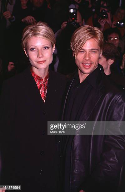 """Gwyneth Paltrow and Brad Pitt during """"The Devil's Own"""" Premiere at Cinema One in New York City, New York, United States."""