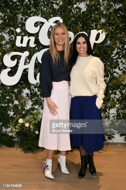 Gwyneth Paltrow and Demi Moore attend the In goop Health Summit New York 2019 at Seaport District NYC on March 09, 2019 in New York City.