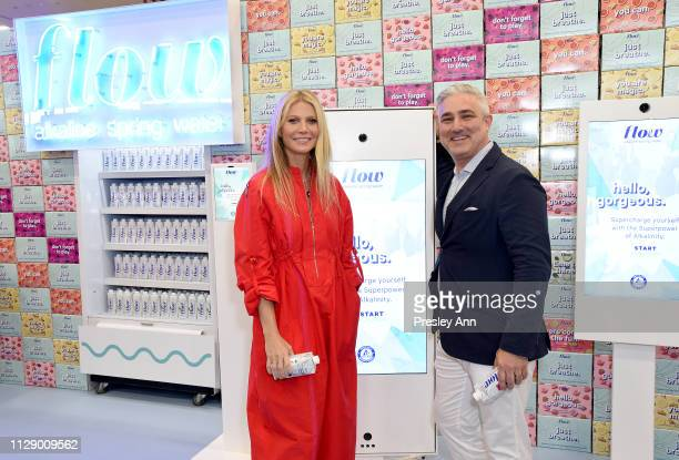 Gwyneth Paltrow and Founder and CEO of Flow Alkaline Spring Water Nicholas Reichenbach try out Flow Alkaline Spring Water's Latest Augmented Reality...