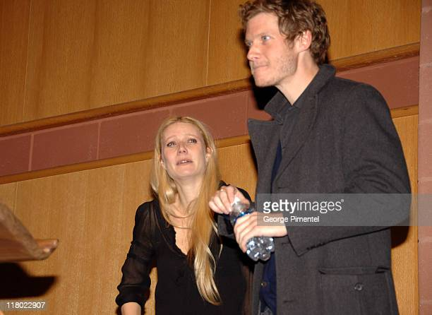 Gwyneth Paltrow and Jake Paltrow during 2007 Sundance Film Festival 'The Good Night' Premiere QA at Eccles Theatre in Park City Utah United States