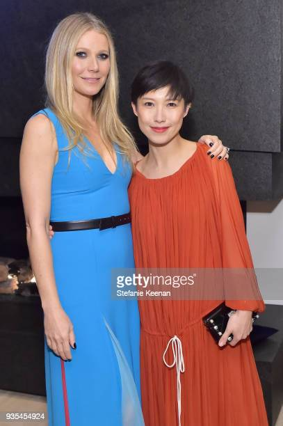Gwyneth Paltrow and Jimmy Choo Creative Director Sandra Choi attend The Hollywood Reporter and Jimmy Choo Power Stylists Dinner on March 20 2018 in...