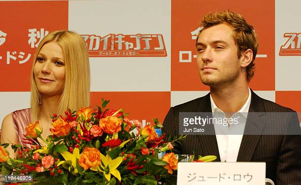 Gwyneth Paltrow and Jude Law during 17th Annual Tokyo International Film Festival 'Sky Captain and the World of Tomorrow' Press Conference at...
