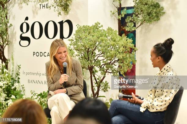 Gwyneth Paltrow and Kerry Washington speak during Gwyneth Paltrow And Kerry Washington Host A Live Episode Of The goop Podcast with Banana Republic...