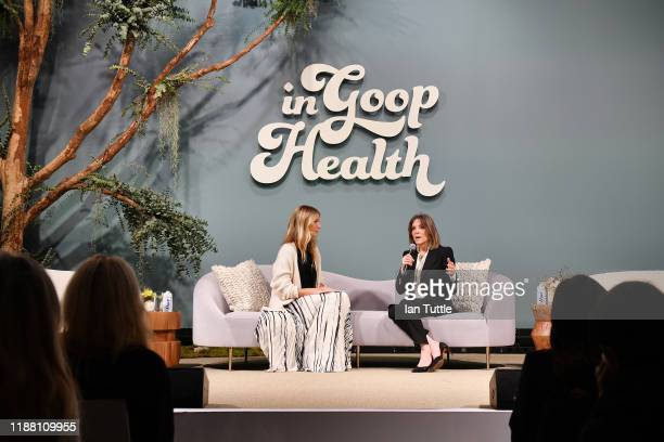 Gwyneth Paltrow and Marianne Williamson speak onstage at the In goop Health Summit San Francisco 2019 at Craneway Pavilion on November 16, 2019 in...