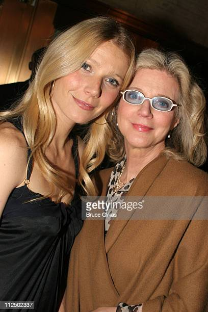 Gwyneth Paltrow and mother Blythe Danner during Sweet Charity Broadway Opening Night Arrivals at The Al Hirshfeld Theater in New York City New York...