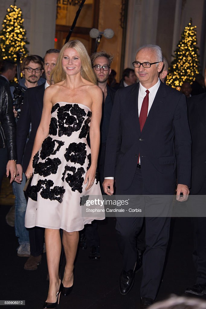 Gwyneth Paltrow and Printemps' CEO Paolo de Cesare launch the Printemps Christmas Decorations Inauguration at Printemps Haussmann, in Paris.