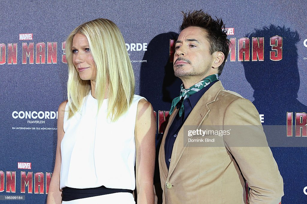 Gwyneth Paltrow and Robert Downey Jr attend the 'Iron Man 3' Photocall at Hotel Bayerischer Hof on April 12, 2013 in Munich, Germany.