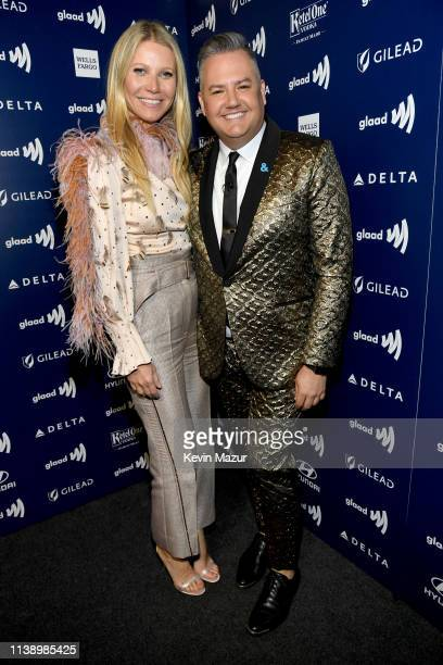 Gwyneth Paltrow and Ross Mathews attend the 30th Annual GLAAD Media Awards Los Angeles at The Beverly Hilton Hotel on March 28 2019 in Beverly Hills...