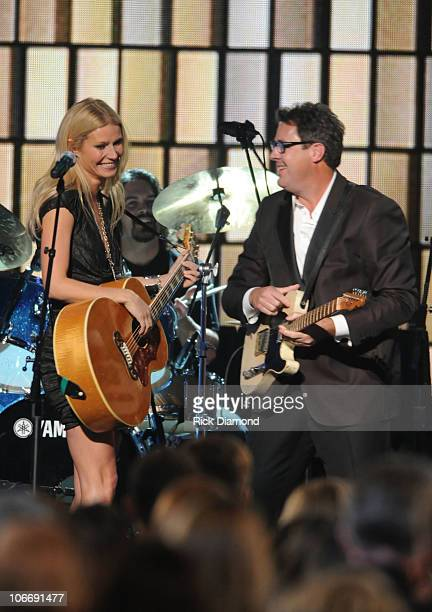 Gwyneth Paltrow and Vince Gill perform Country Strong at the 44th Annual CMA Awards at the Bridgestone Arena on November 10 2010 in Nashville...