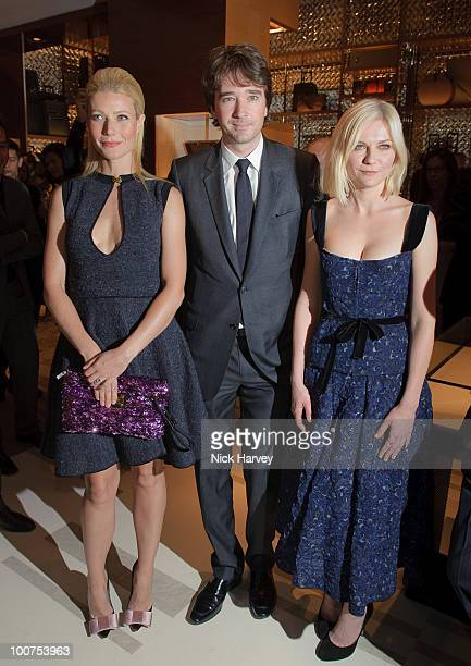 Gwyneth Paltrow Antoine Arnault and Kirsten Dunst attend the launch of the Louis Vuitton Bond Street Maison on May 25 2010 in London England