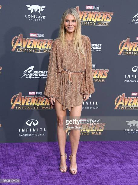 Gwyneth Paltrow arrives at the Premiere Of Disney And Marvel's 'Avengers Infinity War' on April 23 2018 in Los Angeles California