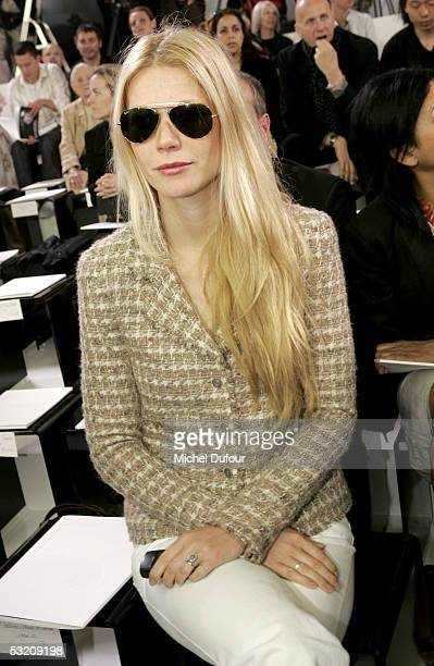 Gwyneth Paltrow attends the Chanel AutumnWinter 200506 Collection fashion show designed by Karl Lagerfeld on July 7 2005 in Paris France