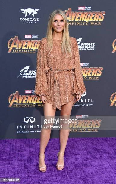 Gwyneth Paltrow attends the premiere of Disney and Marvel's 'Avengers Infinity War' on April 23 2018 in Los Angeles California