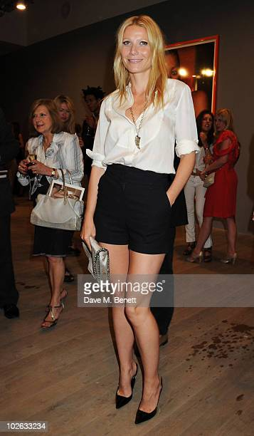 Gwyneth Paltrow attends the private view of 'Mario Testino Kate Who' at Phillips de Pury Company on July 5 2010 in London England