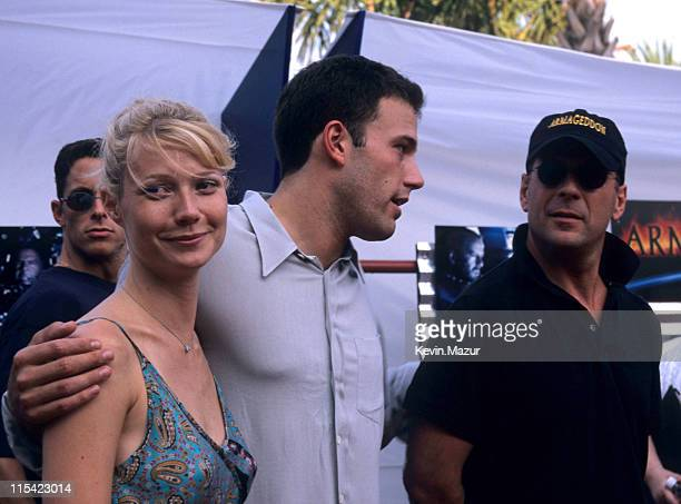 Gwyneth Paltrow Ben Afleck and Bruce Willis during 'Armageddon' Premiere at the Kennedy Space Center at Kennedy Space Center Florida United States