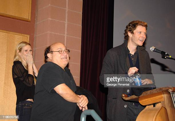 Gwyneth Paltrow Danny DeVito and Jake Paltrow during 2007 Sundance Film Festival 'The Good Night' Premiere QA at Eccles Theatre in Park City Utah...