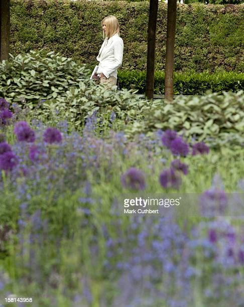 Gwyneth Paltrow In The B&Q Garden At Chelsea Flower Show.