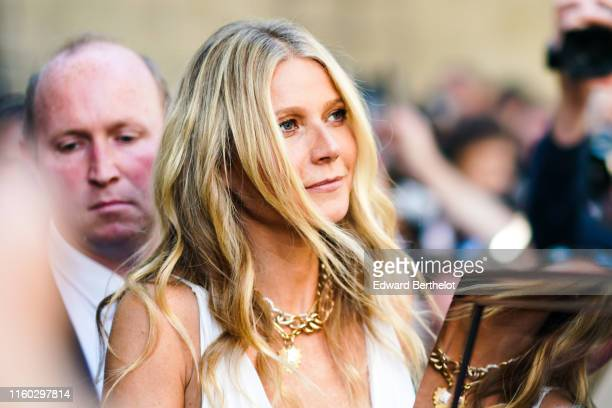 Gwyneth Paltrow is seen, outside Valentino, during Paris Fashion Week Haute Couture Fall/Winter 2019/20, on July 03, 2019 in Paris, France.
