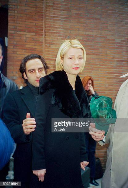 Gwyneth Paltrow outside wearing a black coat with fur collar circa 1990 New York