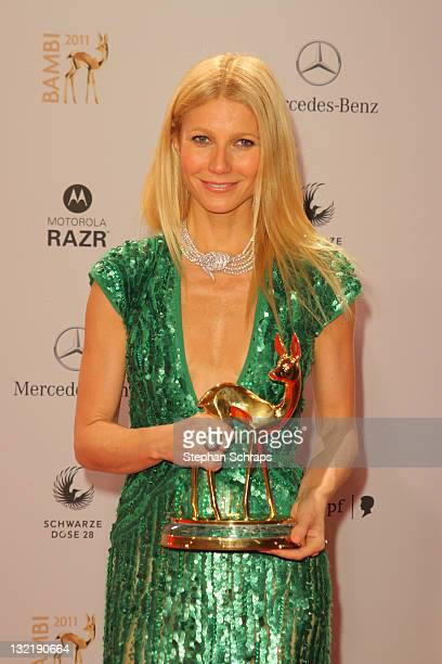 Gwyneth Paltrow poses in front of the winners board during the Bambi Award 2011 ceremony at the RheinMainHallen on November 10 2011 in Wiesbaden...