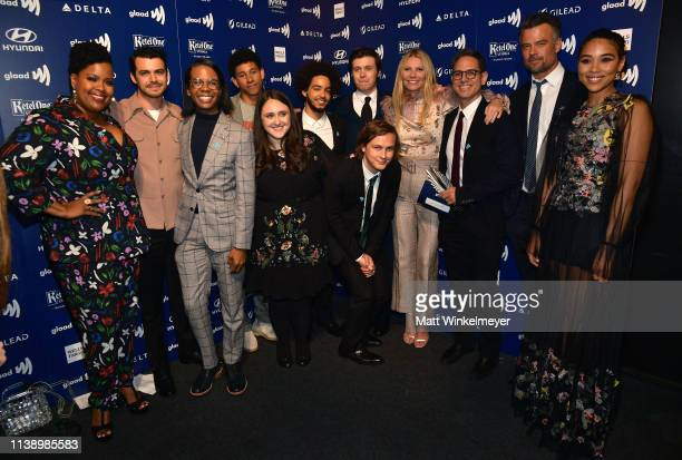 Gwyneth Paltrow poses with cast and crew of 'Love Simon' winners of the Outstanding Film Wide Release award during the 30th Annual GLAAD Media Awards...