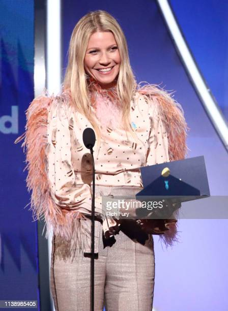 Gwyneth Paltrow speaks onstage during the 30th Annual GLAAD Media Awards Los Angeles at The Beverly Hilton Hotel on March 28 2019 in Beverly Hills...