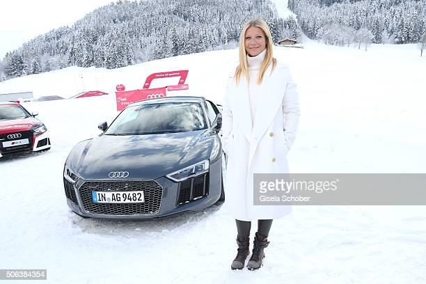 Gwyneth Paltrow stands in the snow ash she attends the Audi driving experience during the Audi Hahnenkamm race weekend on January 23 2016 in...
