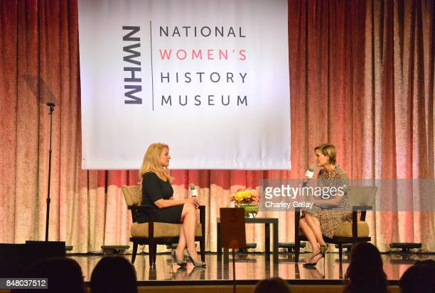 Gwynne Shotwell and Cynthia Leive speak onstage at the Women Making History Awards at The Beverly Hilton Hotel on September 16 2017 in Beverly Hills...