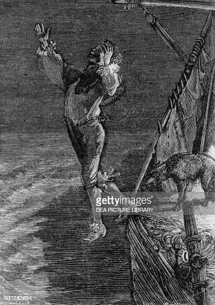 Gwynplaine's suicide illustration for The Man Who Laughs novel by Victor Hugo engraving after a drawing by Daniel Urrabieta Vierge published by...