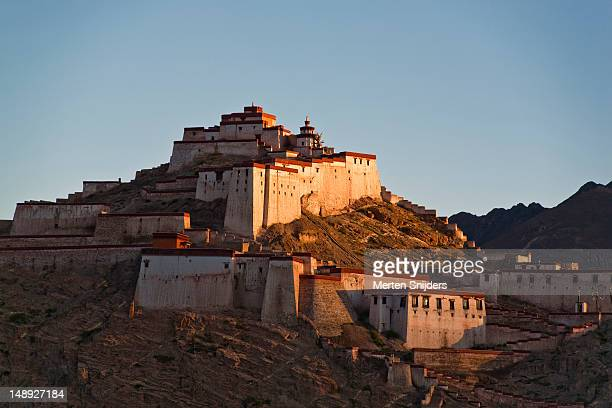 gyantse fort at dawn. - merten snijders stock pictures, royalty-free photos & images