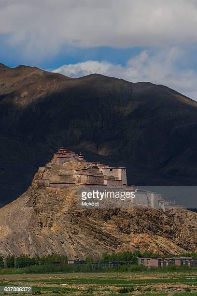 Gyantse Fortress with the Himalayas Mountain Range