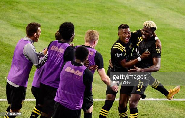 Gyasi Zardes celebrates his goal in the second half with Luis Diaz of Columbus Crew and teammates during their game against FC Cincinnati at MAPFRE...