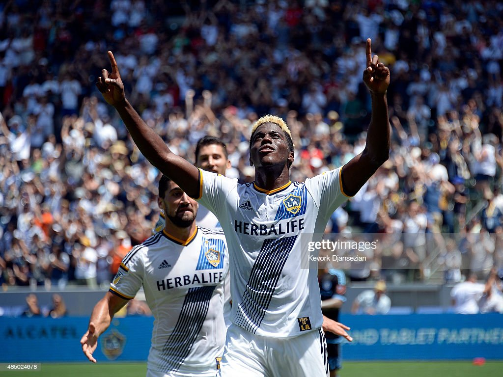 Gyasi Zardes #11 of Los Angeles Galaxy celebrates his goal against New York City FC during the first half at StubHub Center August 23, 2015, in Carson, California.