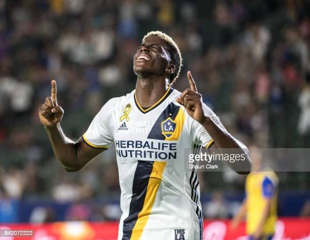 Gyasi Zardes of Los Angeles Galaxy celebrates his goal during the Los Angeles Galaxy's MLS match against Colorado Rapids at the StubHub Center on...