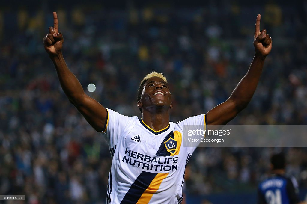 Gyasi Zardes #11 of the Los Angeles Galaxy celebrates his first of two goals against the San Jose Earthquakes during the second half of their MLS match at StubHub Center on March 19, 2016 in Carson, California. The Galaxy defeated the Earthquakes 3-1.