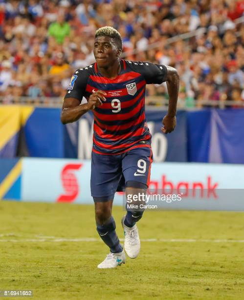 Gyasi Zardes of the United States against Martinique during the first half of the CONCACAF Group B match at Raymond James Stadium on July 12 2017 in...