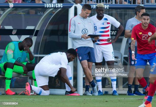 Gyasi Zardes of the United States prepares to enter the field during a game between Costa Rica and USMNT at Dignity Health Sports Park on February 1...