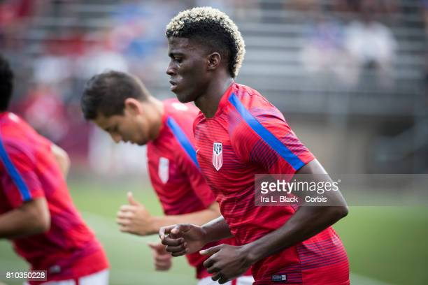 Gyasi Zardes of US Mens National Team warms up prior to the International Friendly Match between US Men's National Team and Ghana at the Pratt...