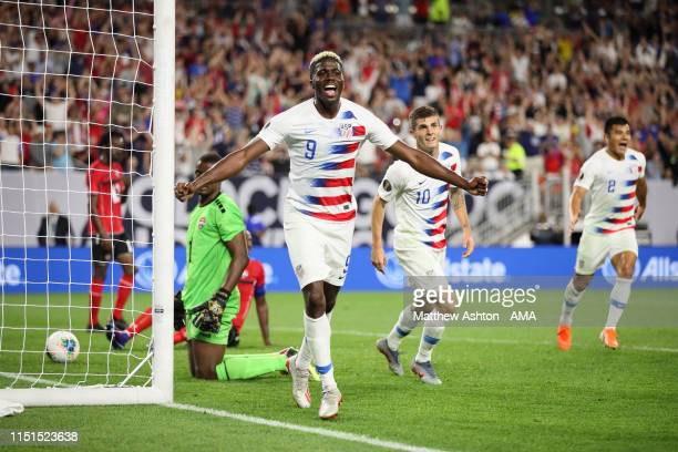 Gyasi Zardes of USA celebrates after scoring a goal to make it 20 during the Group D 2019 CONCACAF Gold Cup fixture between United States of America...