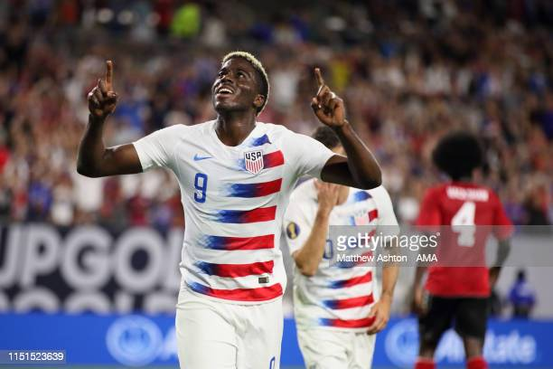 Gyasi Zardes of USA celebrates after scoring a goal to make it 2-0 during the Group D 2019 CONCACAF Gold Cup fixture between United States of America...