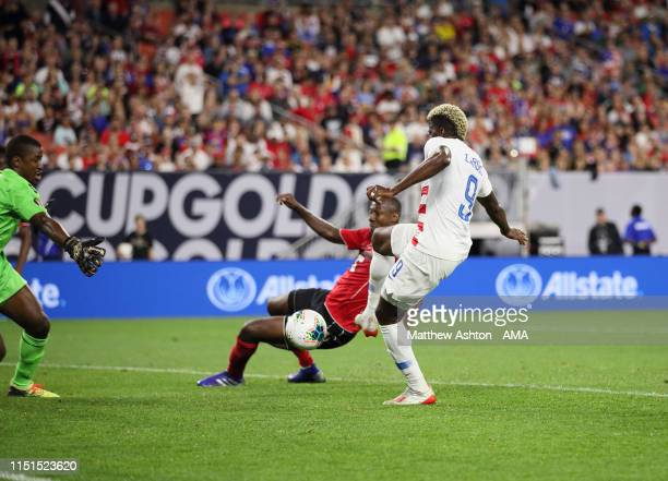 Gyasi Zardes of USA scores a goal to make it 20 during the Group D 2019 CONCACAF Gold Cup fixture between United States of America and Trinidad...