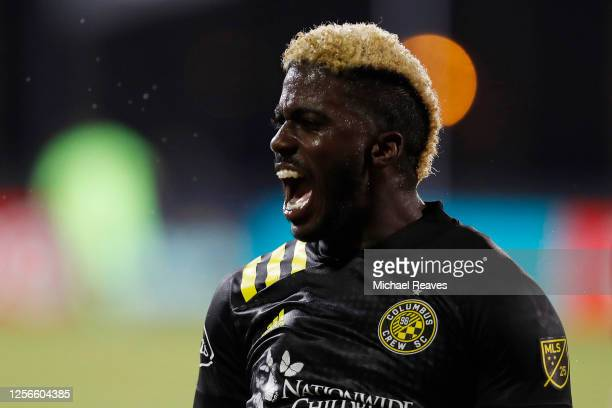 Gyasi Zerdes of Columbus Crew celebrates after scoring a goal in the 22nd minute against the New York Red Bulls during a Group E match as part of the...