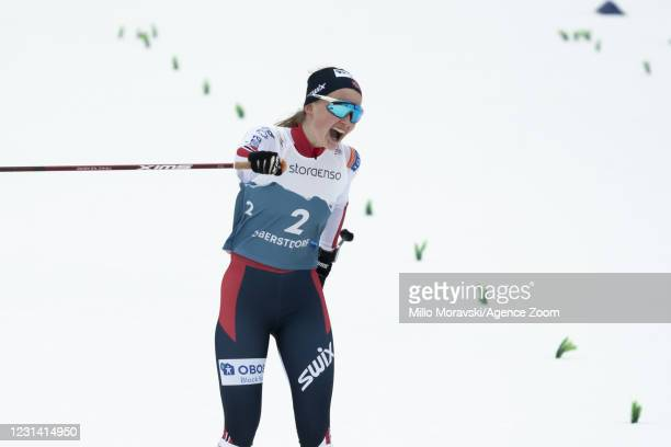 Gyda Westvold Hansen of Norway in action, takes 1st place during the FIS Nordic World Ski Championships Women's Nordic Combined Gundersen Normal Hill...