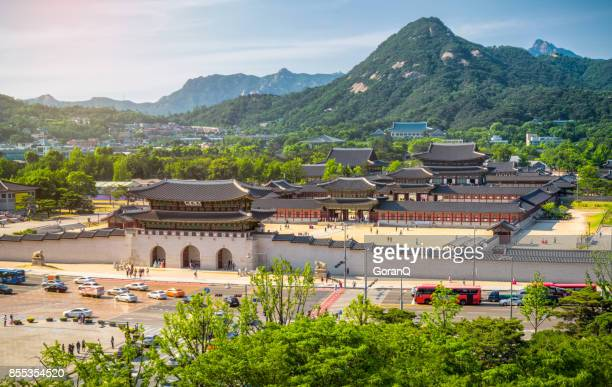 gyeongbokgung palace and the blue house , seoul, south korea - gyeongbokgung stock photos and pictures