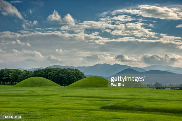 gyeongju royal tombs, daereungwon, south korea - unesco stock pictures, royalty-free photos & images