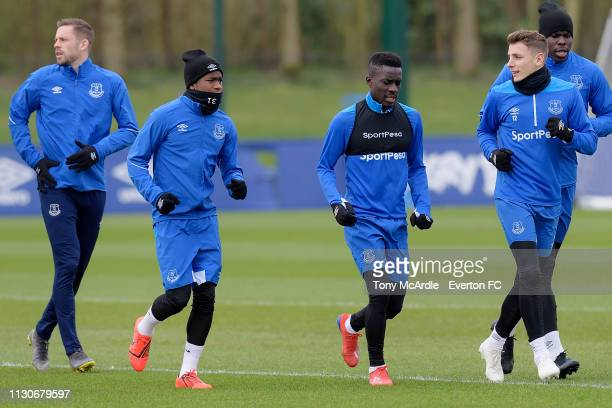 Gylfi Sigurdsson Ademola Lookman Idrissa Gueye Lucas Digne and Kurt Zouma during the Everton training session at USM Finch Farm on March 15 2019 in...