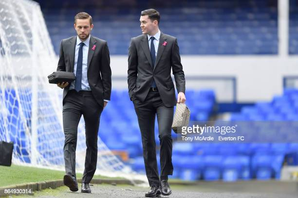 Gylfi Sigurdsson and Michael Keane arrive before the Premier League match between Everton and Arsenal at Goodison Park on October 22 2017 in...