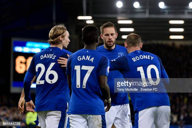 Gylfi Sigurdsson celebrates his goal during the Premier League match between Everton and Huddersfield Town at Goodison Park on December 2 2017 in...