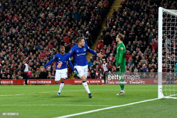 Gylfi Sigurdsson celebrates his goal with Ademola Lookman during The Emirates FA Cup Third Round match between Liverpool and Everton at the Anfield...